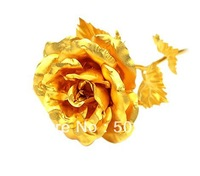 Free Fast shipping 6pcs/lot Big 25*8cm Lover's Brithday gift Valentine's Day gift Gold Plated Rose with box,Dipped in 24K Gold