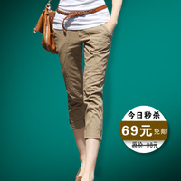 2013 3D Three-Dimensional Cut Chain Roll-Up Women'S Hem Trousers Casual Pants