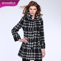 2013 winter houndstooth woolen outerwear large lapel single breasted slim wool coat female plus size