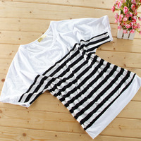 2013 Summer Short-Sleeve Loose Plus Size T-Shirt Black And White Stripe Batwing Shirt Women'S