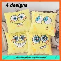 Foreign Trade Original+Free shipping 4 designs Sponge Bob Cushion,Ultra Soft Short Plush Pillow Cushion for Home, Car,35*35cm