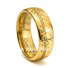 Mens Band The Lord of the Rings Elvish Etched Tungsten Ring Hobbit 18K Gold PL SIZE