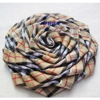 E10 corsage brooch 7cm flower fabric plaid belt diy rose plaid