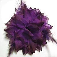 Accessories female vintage royal purple cloth big flower feather corsage brooch 100