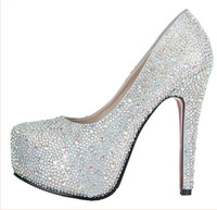 12cm 14 high-heeled platform rhinestone wedding shoes silver crystal bridal shoes single shoes