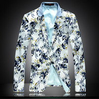 Free shipping 2014 Spring Mens fashion blazer slim one button handsome mens floral blazer flower suit Plus size XXXL 4XL 5XL 6XL