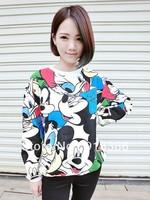 2013 New fashion  Womens cute Mickey mouse  Printed Loose o-neck Fleece Sweatshirts / hoodies for women Freeshipping