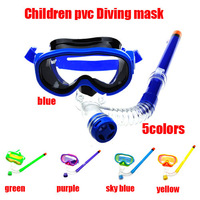 1set high quaity 5colors 100% Polycarbonate Diving Equipment children diving masks and dry snorkel set free shipping!