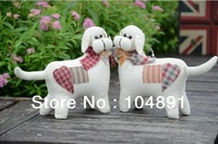 New arrival Hand-made desktop fabric dog lovers home decoration props rual animal arts & crafts decoration wholesale 2pairs/lot