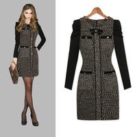 New 2013 Winter Girl Dress Fashion Women's Elegant Long-sleeve Woolen One-piece Dress Plus Size