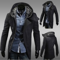 Free shipping 2013 new fashion men's hooded windbreaker long woolen