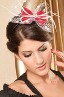 New arrival fashion accessories feather leopard print red hair accessory