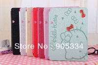 50pcs/lot Fashion Hello Kitty Cute Cartoon Leather Flip Cover Back Case For Ipad 5 Air  As Lady's Christmas Gift