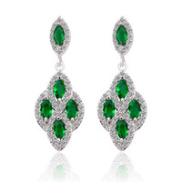 New Marquise Cutting Emerald Green Cubic Zirconia Earrings