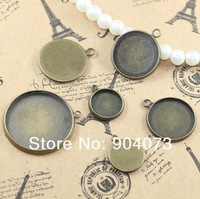 10,12,14,16,18,20,25mm Antique bronze Cameo Cabochon Bezel Base Setting Pendants, Blank Pendant Trays,metal blanks for jewelry