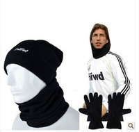 Free shipping outdoor sports football sports fleece scarf winter scarf hat gloves windproof mask sets