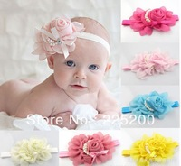 EMS Free Baby Pearl Headbands Girl Headbands Children Hair Accessories Flower Hairbands Pearl Hair Ornaments Photography Props