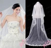 Free Shipping Discount Cheap Long Lace Trim Wholesale Wedding Veil WV-025