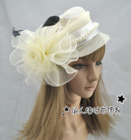 Fashion bride hair accessory big flower gauze hat fedoras hairpin hair accessory hair pin