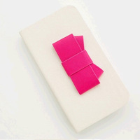 Korea 3D Bowknot Cell Phone Flip Case Leather Cover with Stand 5 Colors
