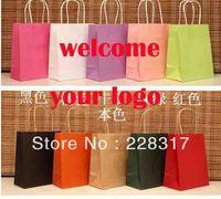 Customize logo kraft paper gift bag with handle H18*L15*W8cm  Creative DIY multicolor gift promotion bag craft paper bag