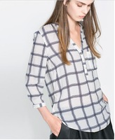 Freeshipping womens v-neck three quarter sleeve loose chiffon shirt with cell print for wholesale and dropship