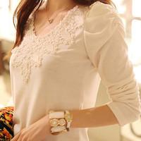 2013 autumn lace decoration t-shirt plus size clothing slim cotton t-shirt women's long-sleeve