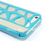 For iPhone 5 5s Leather Cover hollow out radiating Case