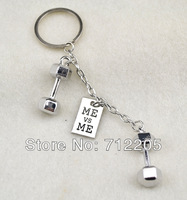 Free Shipping fashion 10pcs a lot rhodium plated beauty  sport dumbbell ME vs ME  Key chain(K300035)