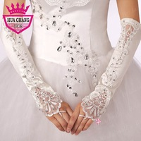 Free Shipping New Fashion Wholesale Elbow Length Fingerless Good Quality Wedding Gloves With Beadings WA-018