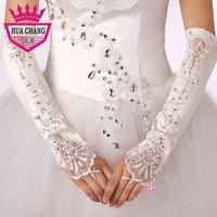 Free Shipping New Fashion Wholesale Elbow Length Fingerless Good Quality Wedding Gloves With Beadings WA-018