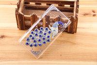 Free Shipping Handmade Peacock Bird Diamond Case for Sony LT26w Xperia acro S phoenix Rhinestone Plastic Back Hard cover