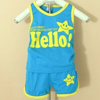 Retail 1set 2013 New summer free shipping Children cotton sport suit 2pc(sleeveless tshirt+pant)girl boy smileface clothing set