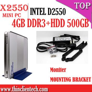 mini pc x86 4G RAM 500G HDD Dual-core INTEL D2550 smallest windows pc computer support HDMI,VGA,USB,PS2,MIC&SPK