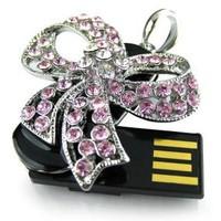 Tonpha Real Capacity 2gb 4gb 8gb 16gb 32gb Ribbon Crystal Jewelry USB2.0 Flash Drive Free Shipping