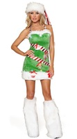 Sexy Adult Women Christmas Costume Green elf Christmas outfit with a bosom foot set for women