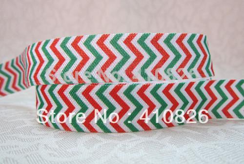 WM ribbon wholesale/OEM 5/8inch 1118033 Christmas Style Wave pattern folded over elastic Webbing FOE 50yds/roll free shipping(China (Mainland))