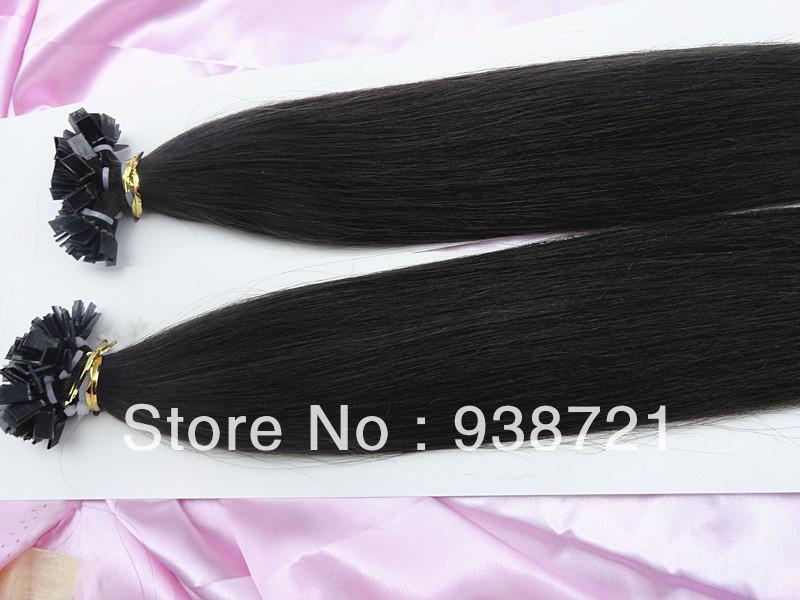 """Atacado 24 """" 1g 26''28''100g / s 2 # Pré ligado extensões de cabelo queratina ponta plana indiano virgem 3pcs de cabelo humano / lot frete grátis(China (Mainland))"""