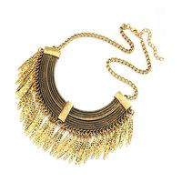 2014 vintage necklaces & pendants gold tassel necklace for women metallic necklace
