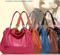 100% Genuine leather women fashion handbag cross-body leather tassel big totes high quality lady shoulder bag freeshipping