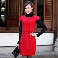 Red woolen outerwear short-sleeve bride cheongsam married cheongsam evening dress formal dress