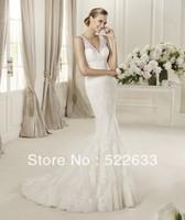 [High-Quality ]Free Shipping Sexy Lace Straps V-Neck Mermaid SweepTrain Luxury Wedding Dresses 2014 Plus Size#2858