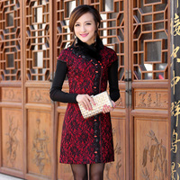 Isn't don served fashion print cheongsam rabbit fur cotton lace cheongsam thermal short qipao