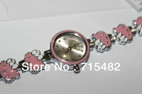 Top Brand  hello kitty pink Women's bracelet Watch Free Shipping Hot  sale Wristwatch Stainless Steel(mini order $10)