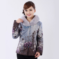 Autumn and winter cotton-padded women's tang suit top cheongsam tang suit mother clothing large fur collar gw027
