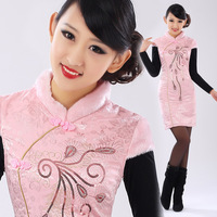 Isn't don served 2013 autumn and winter cotton cheongsam fur collar fashion short design vintage cheongsam