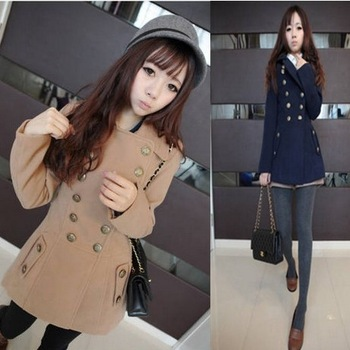 S 2013 autumn and winter medium-Длинный slim double breasted Шерстьen outerwear Шерсть ...