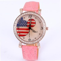 Wholesale free shipping cartoon watch mickey US flag style pu leather women crystal diamonds fashion quartz wristwatch
