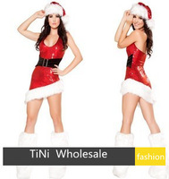 2013 new Sexy Sweetheart Miss Santa Dress Sexy Adult Women Christmas Costume