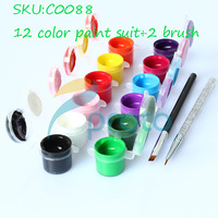 2013 Hot Sales12 Different 3D Acrylic Colors+1 Black Brush+1 Clear Cusp Brush H&Q Nail Art Product [RETAIL] SKU:C0088